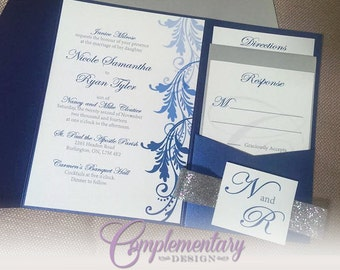 Luxurious, Classic Glitter Pocket Wedding Invitation Suite- Navy, Sapphire Blue and Silver Glitter