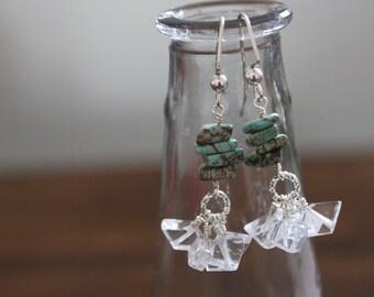 Magnesite and Quartz Dangle Earrings