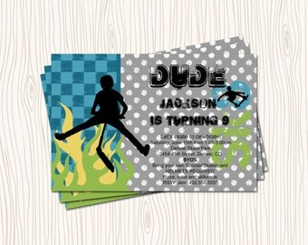 Custom Scooter Skating Skateboard Skate Board Birthday Party Invitation Card   - Any Color