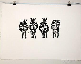 Zebra Bums A3 Original Lino Art print on 200gms 100% Fabriano