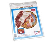 Vintage 1991 COLORLOOKS by DIZZLE Full-Color Native American Chief Iron-On Transfer