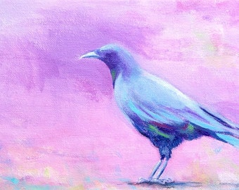 Crow in a Field of Purple by Rita Paradis