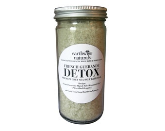 French Guerande DETOX | Grey Marsh Sea Salt Mineral Bath Soak | 8 oz | Choose Your Scent