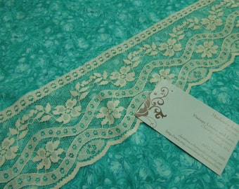 1 yard of 3 3/4 inch Ivory Chantilly lace trim for wedding, veils, bridal, shabby chic, housewares, couture by MarlenesAttic - Item 5A