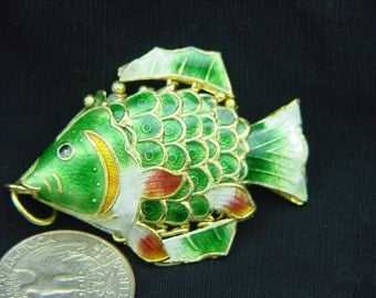 green cloisonne articulated fish enameled 2712A