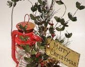 Vintage Lantern Christmas Lamp, Winter Red Lantern Light