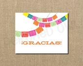 INSTANT DOWNLOAD - Gracias! Papel Picado Fiesta Fold Over Thank You Card - Wedding Shower Thank You Card - Bridal Shower - Digital File