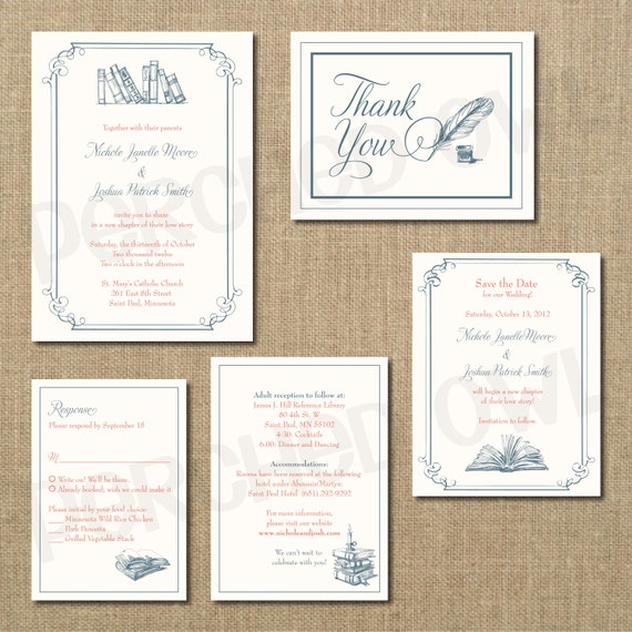 Wedding Invite Enclosures: Vintage Library Wedding Invitation RSVP Enclosure Card