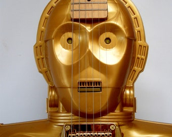 C3PO electric handmade star wars guitar, collectors case, Custom Gold
