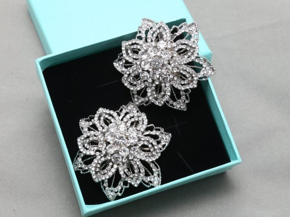 Pair Of  Flower Crystal Shoe Clips, Rhinestone Shoe Clips, Wedding Bridal Shoe Clips, Floral Shoes Decoration, Bridesmaids Gift Shoe Clips