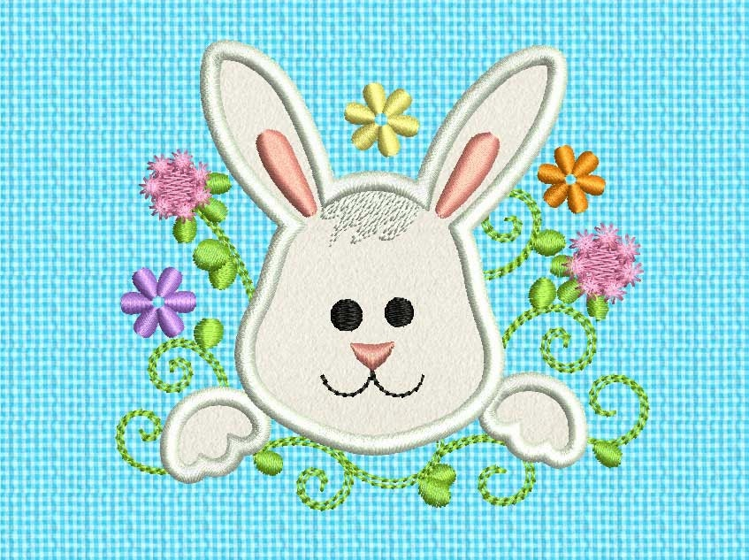 Bunny applique embroidery design easter for baby