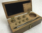 Brass Jewelers Weights in Wood Box