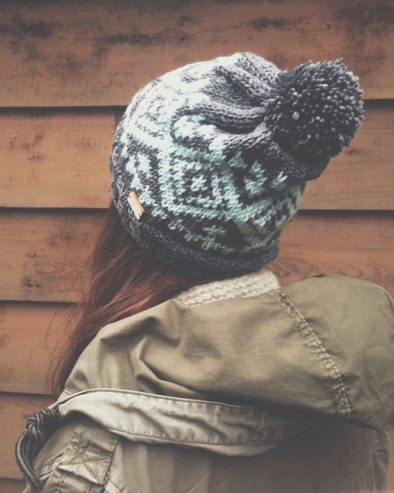 Fair Isle Knitting Kits Canada : The nazca hat grey and aqua fair isle knit with pom