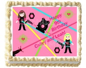 Girl Laser Tag Cake Topper - 1/4 sheet Custom Design