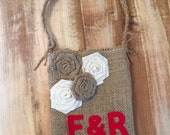 Burlap Flower Girl Bag With Cream/Natural Rosettes & Initials-Personalize-Add Your Initials in Custom Colors-Weddings-Rustic/Shabby Chic