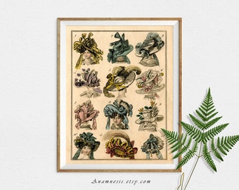 FRENCH FASHION HATS - digital download - printable antique French collage sheet by Anamnesis - image transfer - totes, pillows, prints