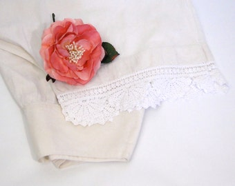 Antique Pantaloons Bloomers Cotton Handmade Lace with Open Bottom - 1900s Early Century Lingerie