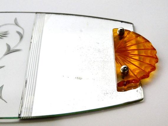 Art Deco Mirror Tray Glass Bakelite Handles Perfume Holder