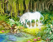 "Unicorn and mermaid painting, fantasy art, girls room decor ""An Enchanted Encounter"" archival fine art print"