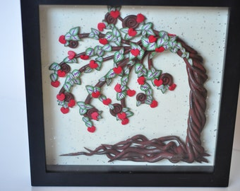 50% OFF SALE! Heart Tree Blowing in the Wind -  Wall Mounted, Tree of Life Series in Polymer Clay