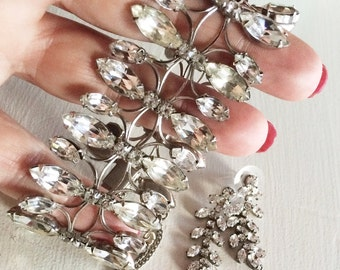 Incredible Vintage Rhinestone Bracelet & Earring Set, Bridal Jewelry, Vintage Bracelet, Vintage Rhinestone Earring Demi Parure