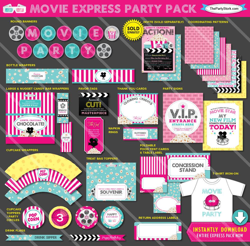 movie birthday party printables movie theme printable party. Black Bedroom Furniture Sets. Home Design Ideas
