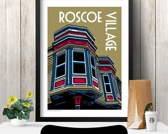 ROSCOE VILLAGE Chicago Neighborhood Poster