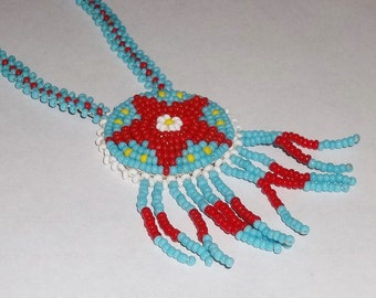 Native Style, Red Star Rosette Hand Beaded Necklace