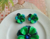 Vibrant Vintage Blue & Green Flower Enameled Metal Brooch Pin and  Matching Clip Earrings Set, Rhinestone Estate Jewelry, Statement Pieces