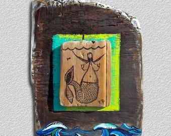 "Mermaid on driftwood 12.5""h X 9""w"