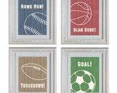 Sports Theme Nursery Art DIY Printable- Basketball, Football, Baseball, Soccer Wall Art Prints- Baby Boy Nursery Art