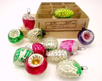 Figural Glass Feather Tree Ornaments, Occupied Japan Christmas Ornaments, Boxed Set of 12, Tiny