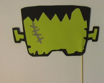 Frankenstein mask on a stick, party photo props, photo booth props, Frankenstein photo prop