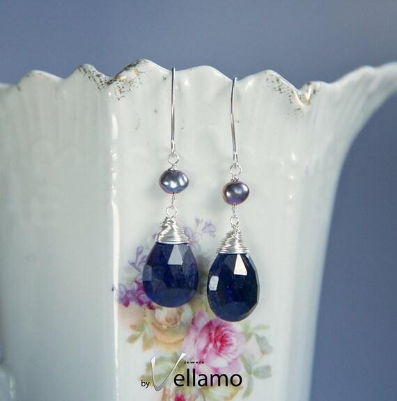 0c68c24d1 September birthstone, genuine sapphire and black freshwater pearls,  sterling silver earrings, natural sapphire gemstones, faceted teardrop