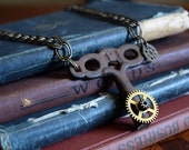 Steampunk Necklace, Unisex Jewelry, Clock key necklace, Steampunk Jewelry, Men's Steampunk Jewelry, Key Jewelry, Mens Steampunk, gears