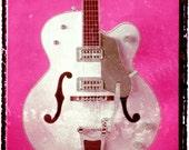 Pink Gretsch vintage guitar art,music wall decor, musicians gift, gift for guy, gift for boyfriend, hipster, dude, rock n roll art