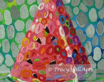 """Colorful Watermelon Art PRINT from original painting """"Watermelon Whimsy"""" by Tracy Hall"""