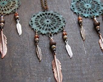Dream Catcher Necklace Feather Dreamcatcher Necklace Dangly Feather Necklace Patina Medallion Necklace Bead Feather Necklace Tribal