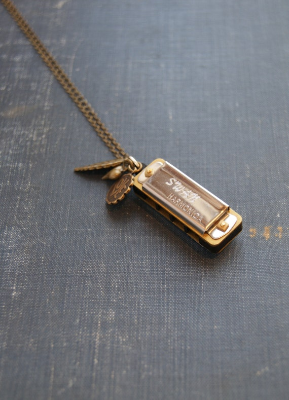 Real Harmonica Necklace Harmonica Necklace Charm Necklace Miniature Harmonica Heart, Leaf, Love Necklace Music Necklace  Musical Instrument