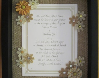 Wedding Invitation Framed with flowers on burlap  - Custom Designed