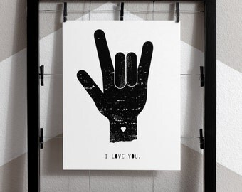 i love you art print love wall art recycled paper art sign language