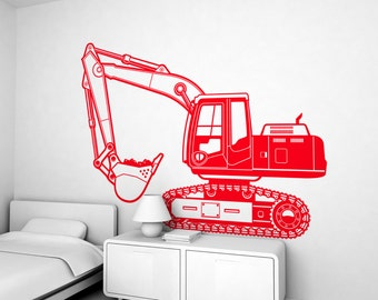 Excavator truck Kids Wall Decal (free shipping) - Large Children Wall Stickers for Kids Boy Room