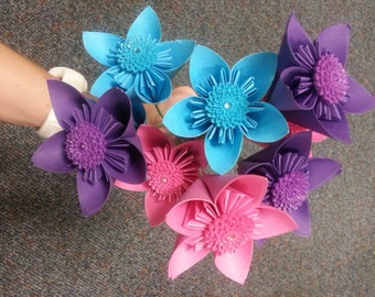 Mix Color with Flower Plastic Embellishments - Paper Flower Bouquet with Green Wire Stems