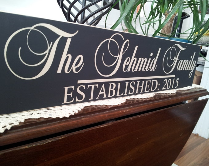 Established Sign, Personalized Family Name Sign, Unique gift, Custom Personalized Family Established Sign, wedding gift, anniversary sign