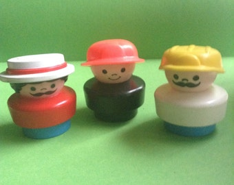 90s Fisher Price Little People, 3 figures, fireman / astronaut / barber shop quartet, original, collectible, vintage toys, egst, Greece