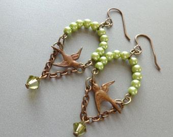 Modern Assemblage Earrings Brass Soaring Birds