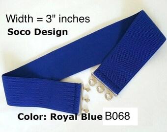 Elastic Belt, Belt, Women Belt, Royal Blue color belt, elastic cinch belt, Cinch belt
