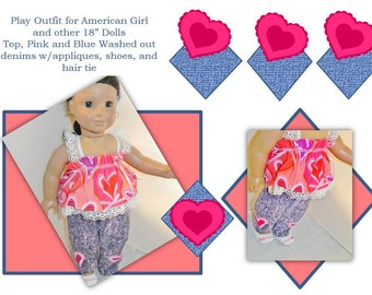 American Girl Doll Valentine Outfit Hearts Full of Fun 5 piece outfit