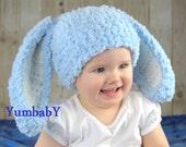 Bunny Hats Blue Fluffy Easter Bunny Hat Rabbit Ears Beanie with Floppy Ears