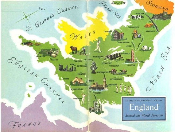 Items similar to England Map Art London England Old Map – England Travel Map